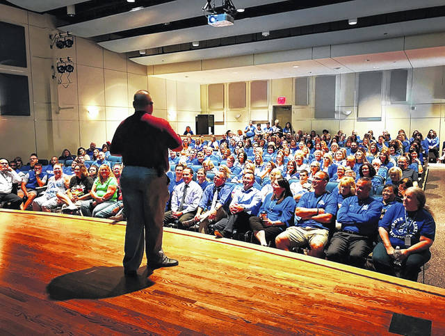 Washington Court House City Schools kicked off the year by participating in safety and security training. Jack Anders spoke to the faculty about safety training.