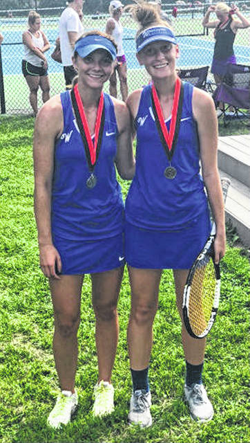 Megan Downing, left, placed second at first singles and Brooklyn Foose, right, won the third singles title at the 8-team Wilmington Invitational Saturday, Aug. 25, 2018.