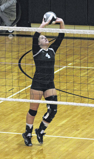 Ashley Campbell passes the ball up to the net for Miami Trace during a Frontier Athletic Conference match against Hillsboro in the Panther Pit at Miami Trace High School Tuesday, Sept. 11, 2018.
