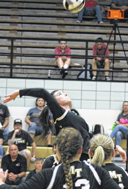 Taylor Dawson goes up for a kill for Miami Trace during a Frontier Athletic Conference match against Jackson in the Panther Pit at Miami Trace High School Thursday, Sept. 13, 2018.