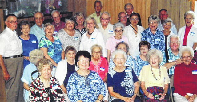 The Washington High School class of 1951 held their reunion last month. Pictured (L to R): Front row: Ethel Jett, Ann Thompson, June Hughes, Louise VanMeter and Juanita Phillips. Second row: Mary Holley, Eleanor Howard, Wilma Manning, Shirley Stackhouse, Rozella McArther and Harold Roberts. Third row: Dick Hughes, Rhoda Gilmore, Linda Highfield, Nancy Eckle, Jane Merritt, Sharon Vincent and Ann Blake. Fourth row: Clinton Gilmore, Bob Highfield, Jodi Kirk, Norman Merritt, Sue Watts, Esther Johnson, and Barbara White. Fifth row: Bill Holley, Harold Thompson, David Sheidler and Larry Johnson. Not pictured but attending was Ruby Schiller.